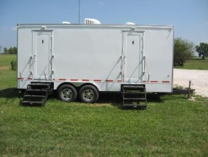 Restroom Trailers for Sale Grass Blue Sky