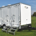 Three station portable restroom trailer for sale