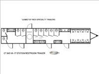 Portable Restroom Trailers - Triple Axle Floorplan